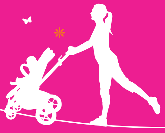 LAUFMAMALAUF Kinderwagen-Mama-Silhuette_Logo